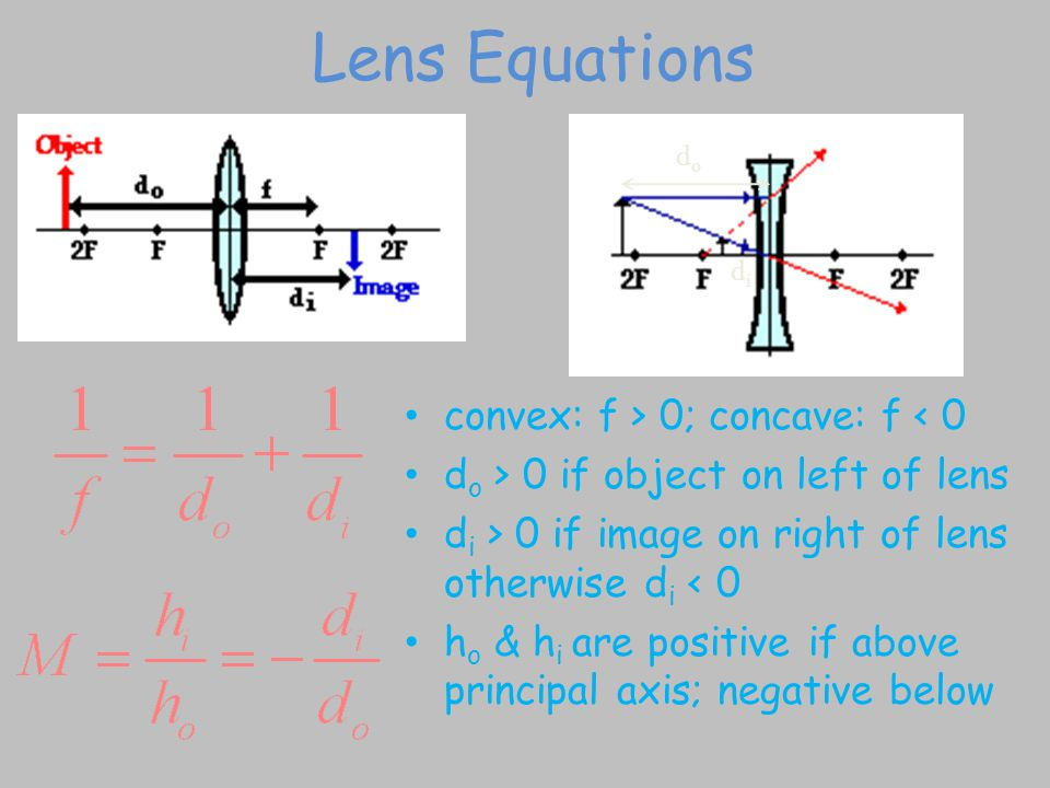 Lens Equations convex: f > 0; concave: f < 0 d o > 0 if object on left of lens d i > 0 if image on right of lens otherwise d i < 0 h o & h i are positive if above principal axis; negative below dodo didi