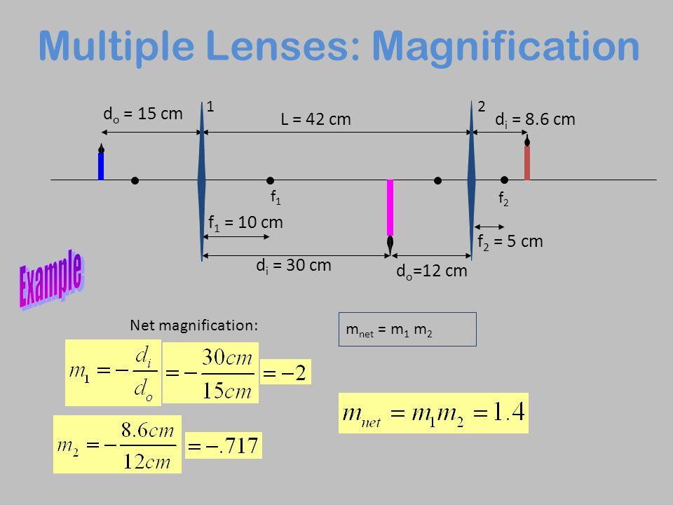 Multiple Lenses: Magnification f1f1 f2f2 d o = 15 cm f 1 = 10 cm d i = 30 cm f 2 = 5 cm L = 42 cm d o =12 cm d i = 8.6 cm 12 Net magnification: m net