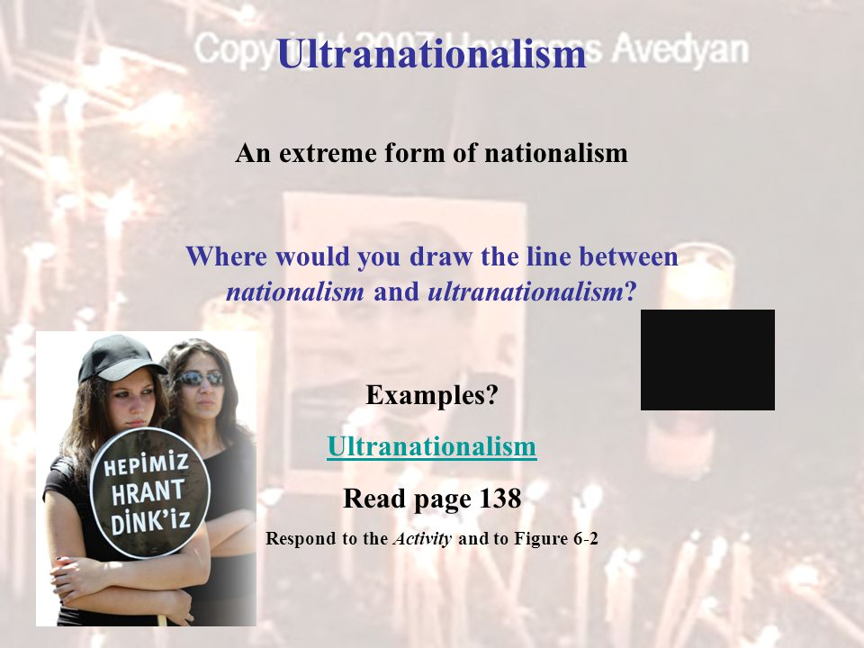 Ultranationalism An extreme form of nationalism Where would you draw the line between nationalism and ultranationalism.
