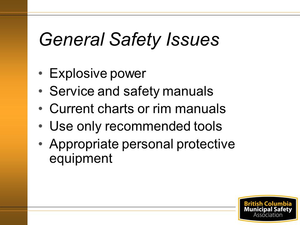 General Safety Issues Explosive power Service and safety manuals Current charts or rim manuals Use only recommended tools Appropriate personal protective equipment