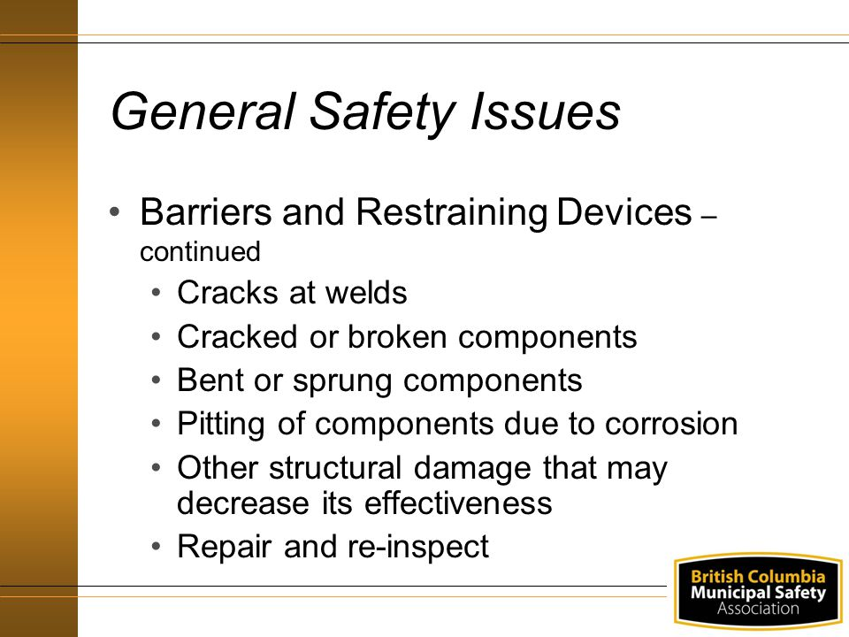 General Safety Issues Barriers and Restraining Devices – continued Cracks at welds Cracked or broken components Bent or sprung components Pitting of components due to corrosion Other structural damage that may decrease its effectiveness Repair and re-inspect