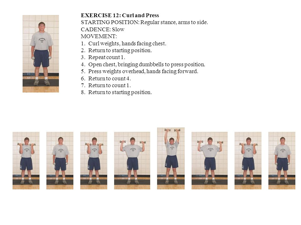 EXERCISE 12: Curl and Press STARTING POSITION: Regular stance, arms to side. CADENCE: Slow MOVEMENT: 1. Curl weights, hands facing chest. 2. Return to