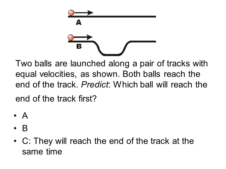 Two balls are launched along a pair of tracks with equal velocities, as shown.