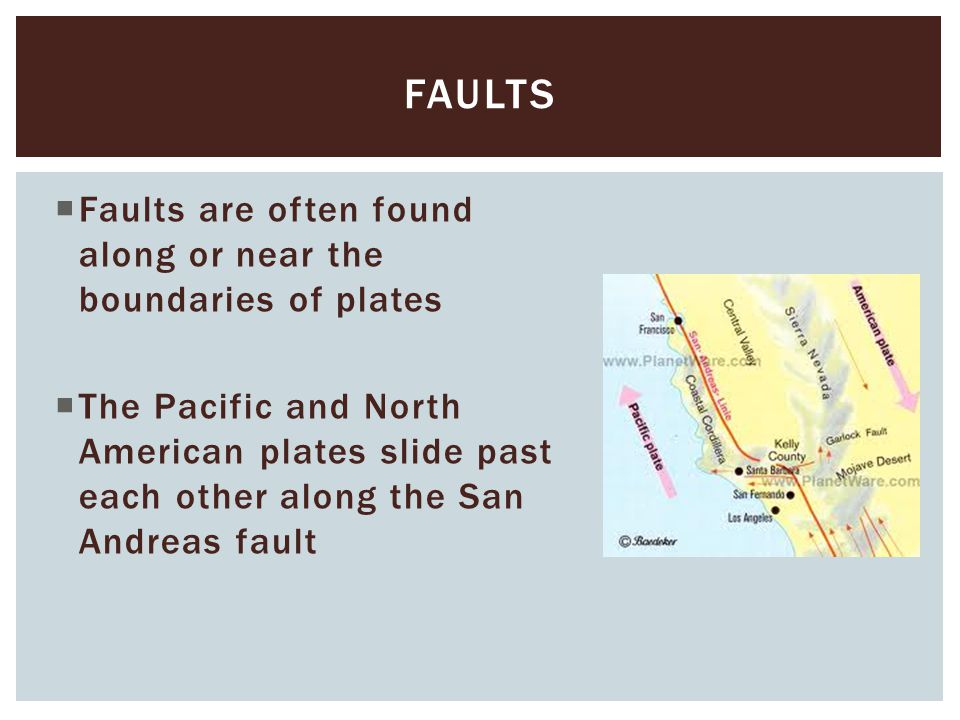  Faults are often found along or near the boundaries of plates  The Pacific and North American plates slide past each other along the San Andreas fa