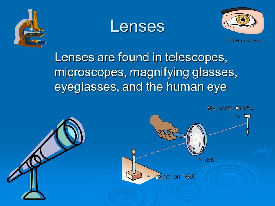 Lenses Lenses are found in telescopes, microscopes, magnifying glasses, eyeglasses, and the human eye