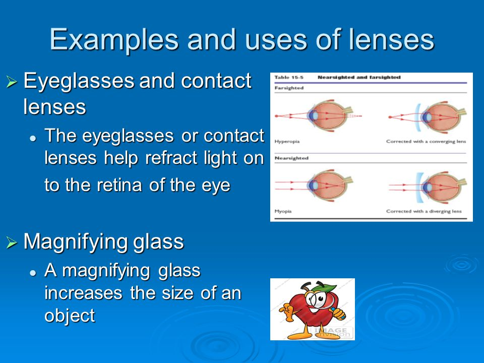 Examples and uses of lenses  Eyeglasses and contact lenses The eyeglasses or contact lenses help refract light on The eyeglasses or contact lenses he