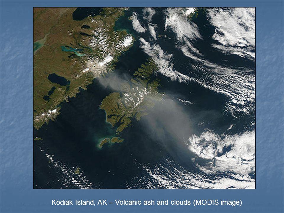 Kodiak Island, AK – Volcanic ash and clouds (MODIS image)