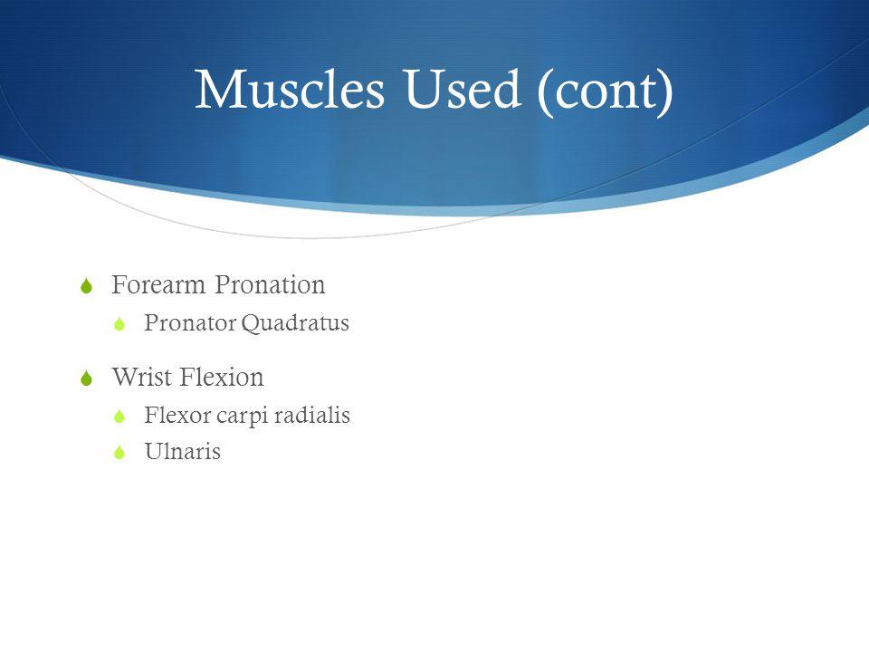 Muscles Used (cont)  Forearm Pronation  Pronator Quadratus  Wrist Flexion  Flexor carpi radialis  Ulnaris