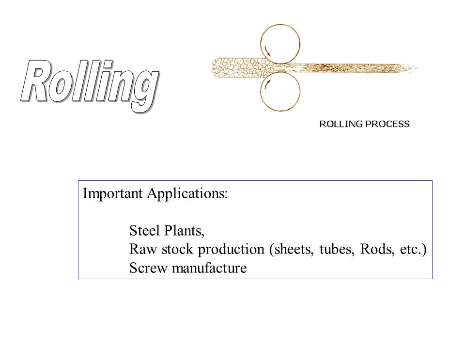 Important Applications: Steel Plants, Raw stock production (sheets, tubes, Rods, etc.) Screw manufacture