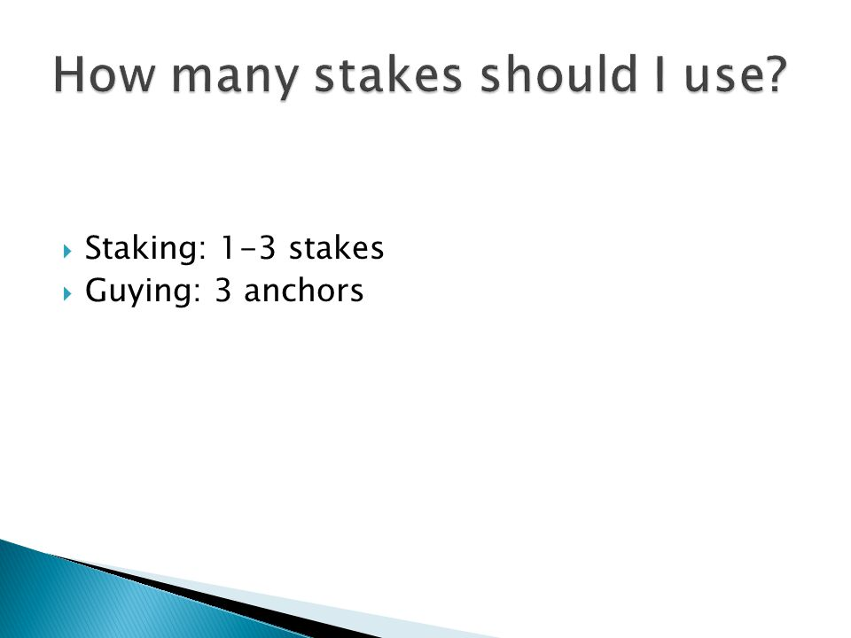  Staking: 1-3 stakes  Guying: 3 anchors
