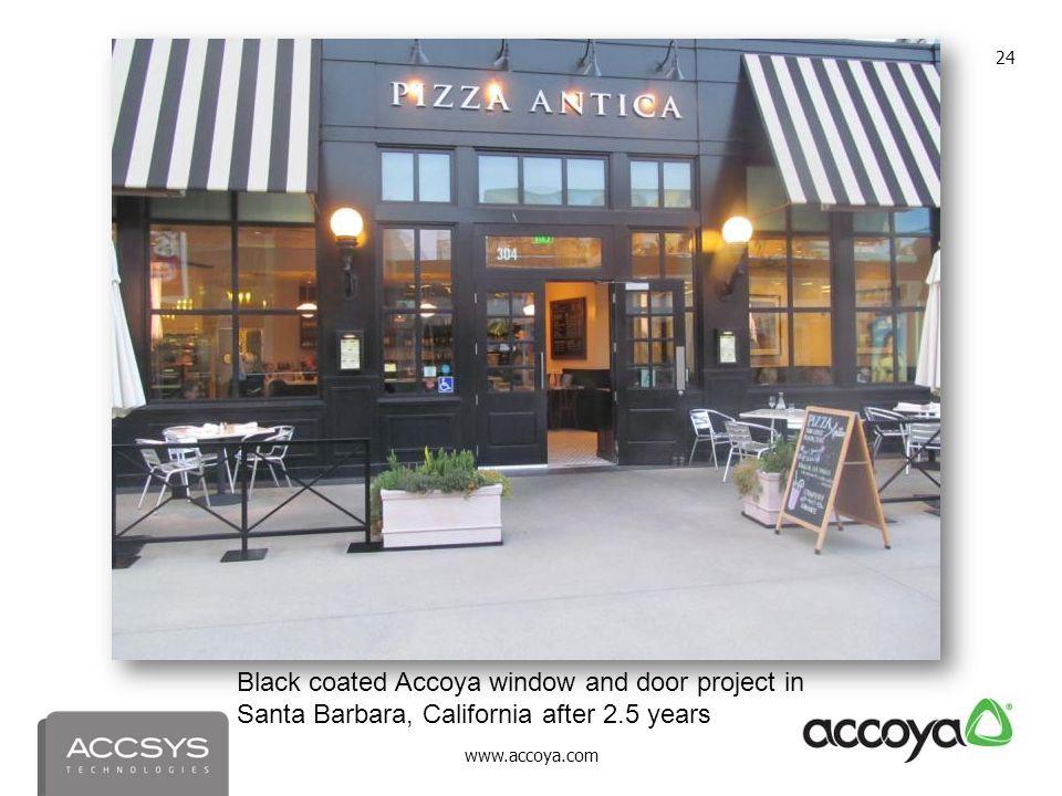 www.accoya.com 24 Black coated Accoya window and door project in Santa Barbara, California after 2.5 years