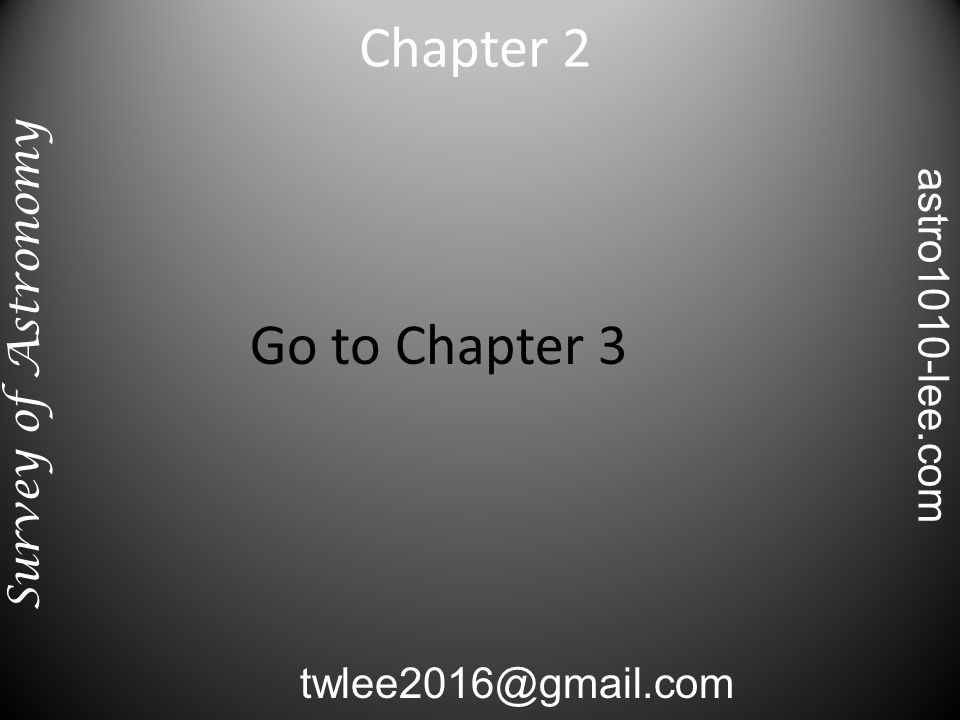 Go to Chapter 3 Chapter 2 Survey of Astronomy twlee2016@gmail.com astro1010-lee.com