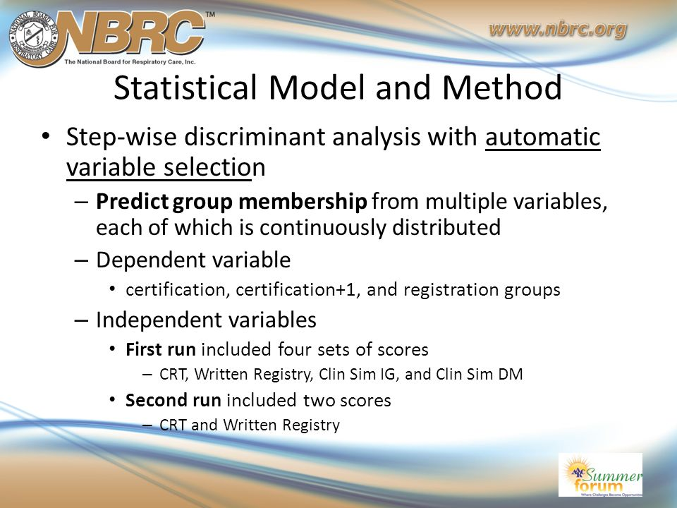 Statistical Model and Method Step-wise discriminant analysis with automatic variable selection – Predict group membership from multiple variables, eac