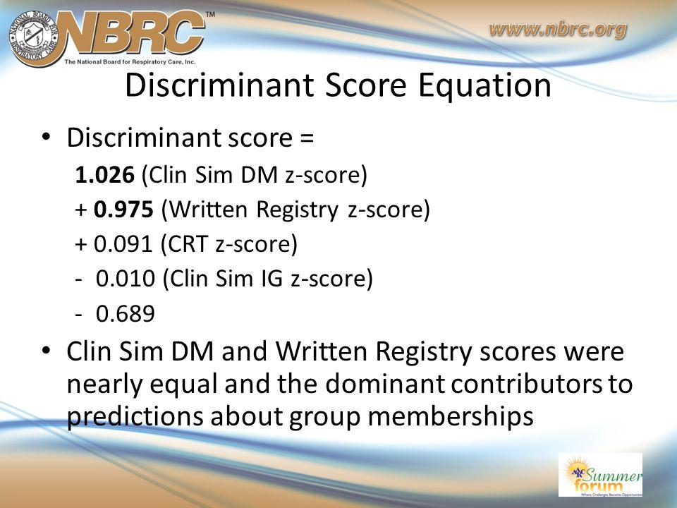 Discriminant Score Equation Discriminant score = 1.026 (Clin Sim DM z-score) + 0.975 (Written Registry z-score) + 0.091 (CRT z-score) -0.010 (Clin Sim IG z-score) -0.689 Clin Sim DM and Written Registry scores were nearly equal and the dominant contributors to predictions about group memberships