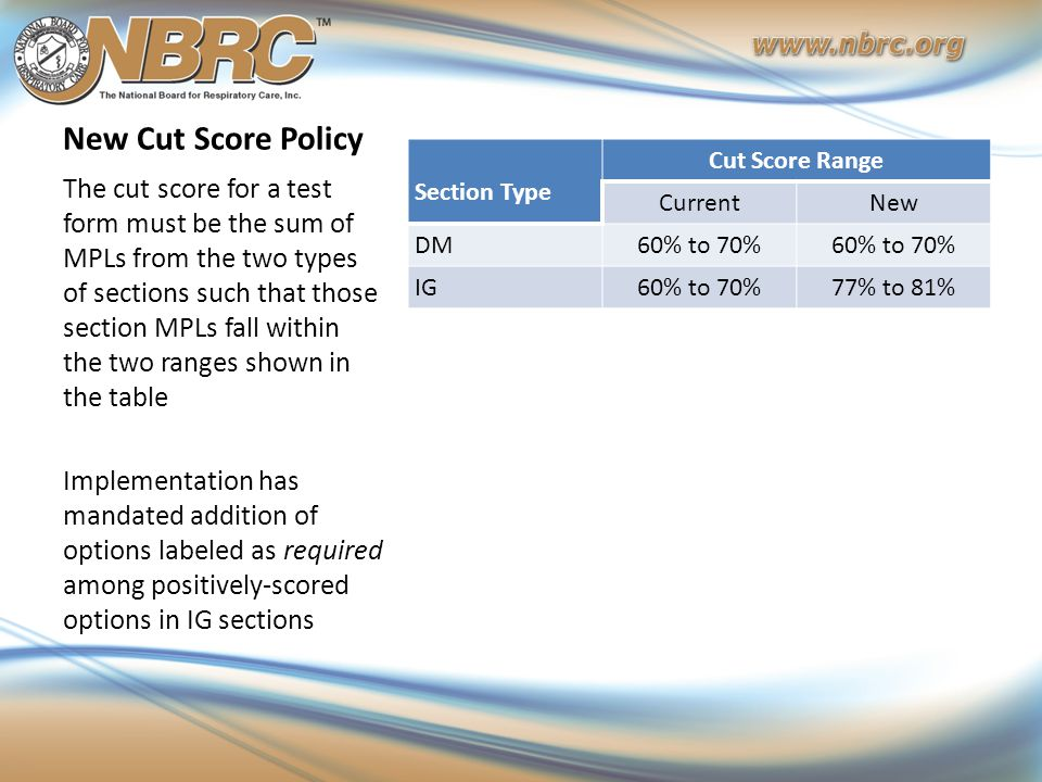 New Cut Score Policy Section Type Cut Score Range CurrentNew DM60% to 70% IG60% to 70%77% to 81% The cut score for a test form must be the sum of MPLs