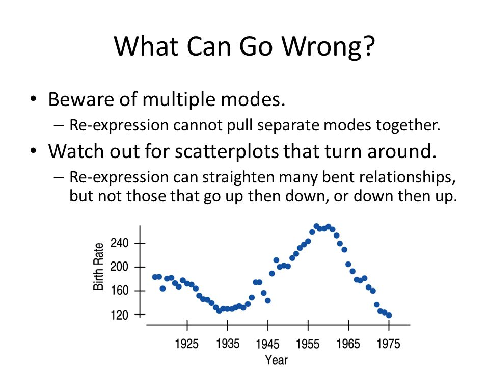 What Can Go Wrong? Beware of multiple modes. – Re-expression cannot pull separate modes together. Watch out for scatterplots that turn around. – Re-ex