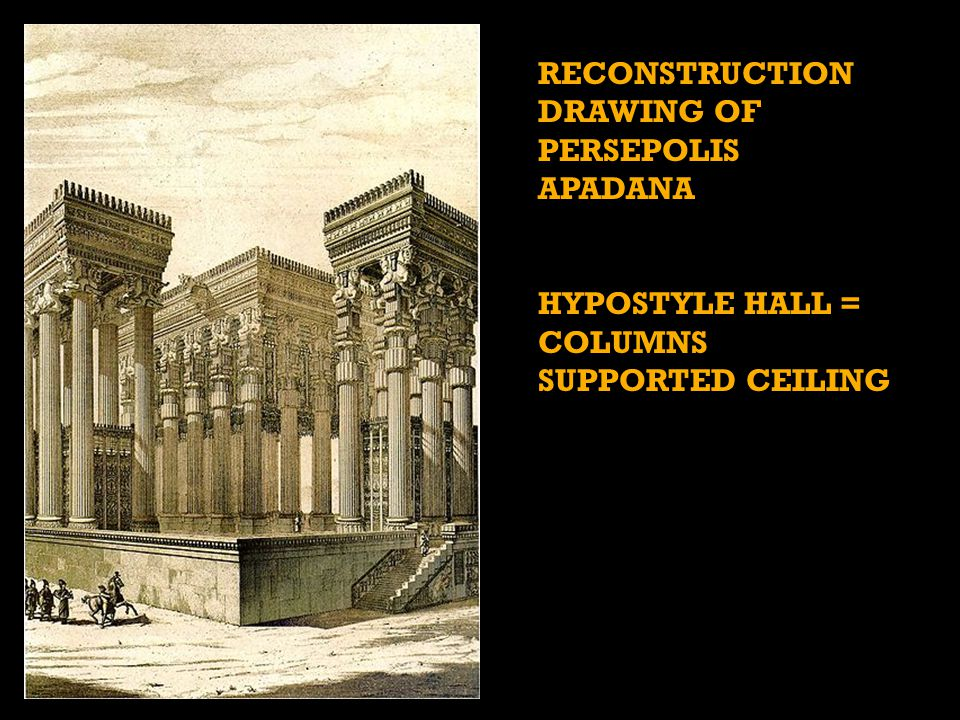 RECONSTRUCTION DRAWING OF PERSEPOLIS APADANA HYPOSTYLE HALL = COLUMNS SUPPORTED CEILING
