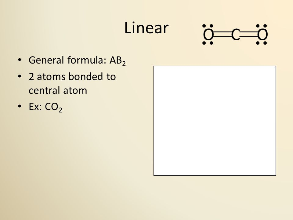 Linear General formula: AB 2 2 atoms bonded to central atom Ex: CO 2 180° O C O