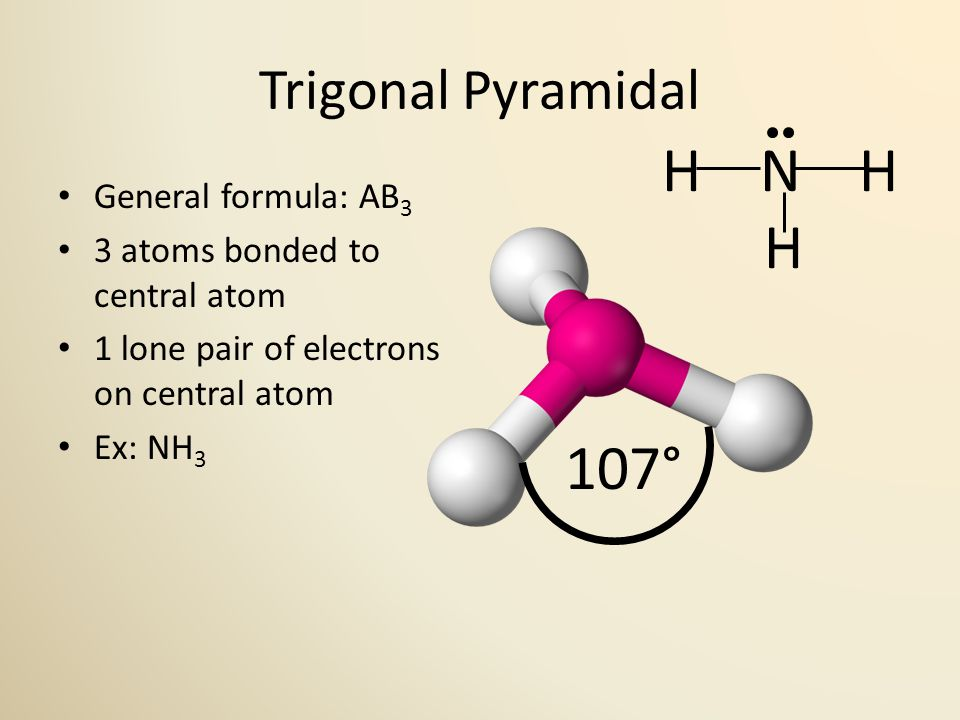 Trigonal Pyramidal General formula: AB 3 3 atoms bonded to central atom 1 lone pair of electrons on central atom Ex: NH 3 107° H N H H
