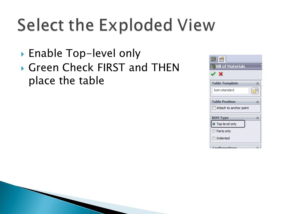 Enable Top-level only  Green Check FIRST and THEN place the table
