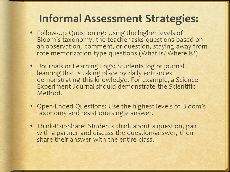 Performance Assessment  Open-ended or extended response exercises: These are questions or other prompts that students explore a topic orally or in writing.