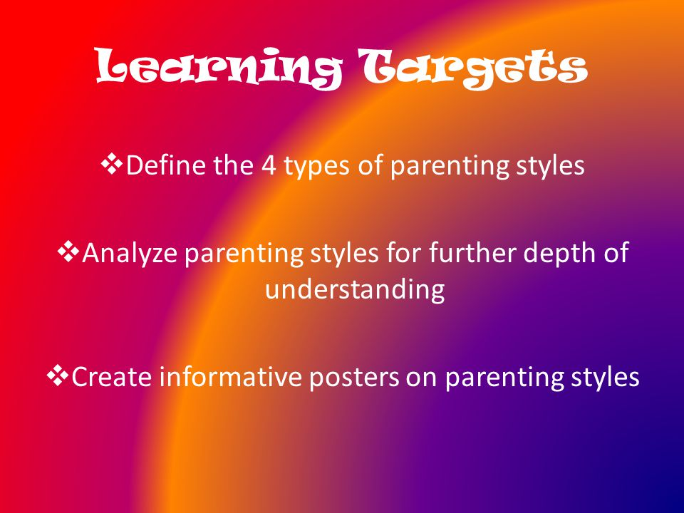Learning Targets  Define the 4 types of parenting styles  Analyze parenting styles for further depth of understanding  Create informative posters on parenting styles
