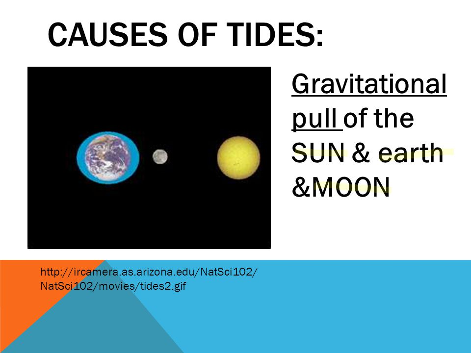 CAUSES OF TIDES: Gravitational pull of the SUN & earth &MOON http://ircamera.as.arizona.edu/NatSci102/ NatSci102/movies/tides2.gif