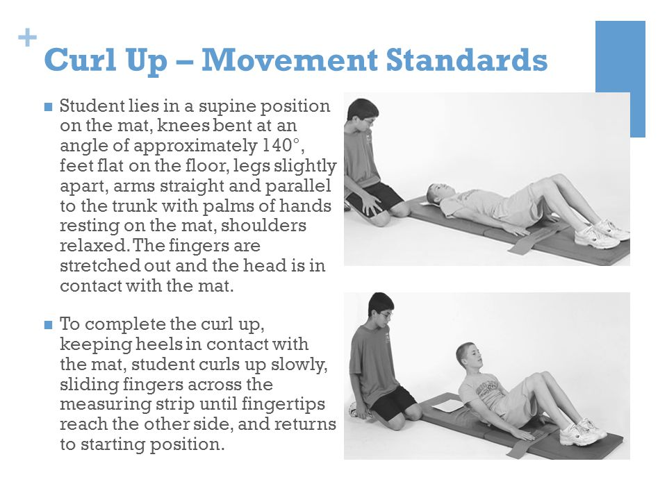 + Curl Up – Movement Standards Student lies in a supine position on the mat, knees bent at an angle of approximately 140°, feet flat on the floor, leg
