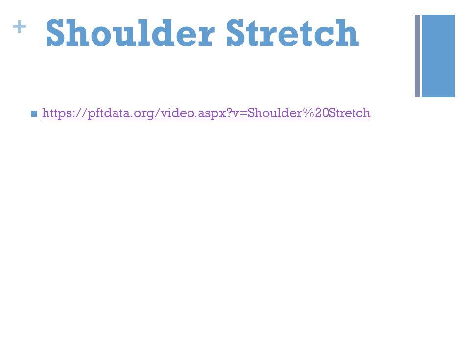 + Shoulder Stretch https://pftdata.org/video.aspx?v=Shoulder%20Stretch