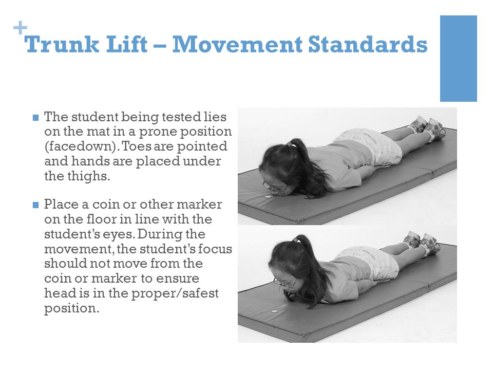 + Trunk Lift – Movement Standards The student being tested lies on the mat in a prone position (facedown). Toes are pointed and hands are placed under