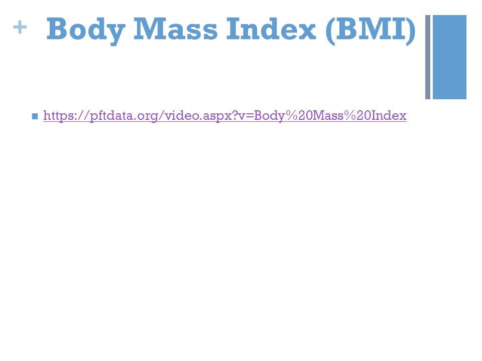 + Body Mass Index (BMI) https://pftdata.org/video.aspx?v=Body%20Mass%20Index