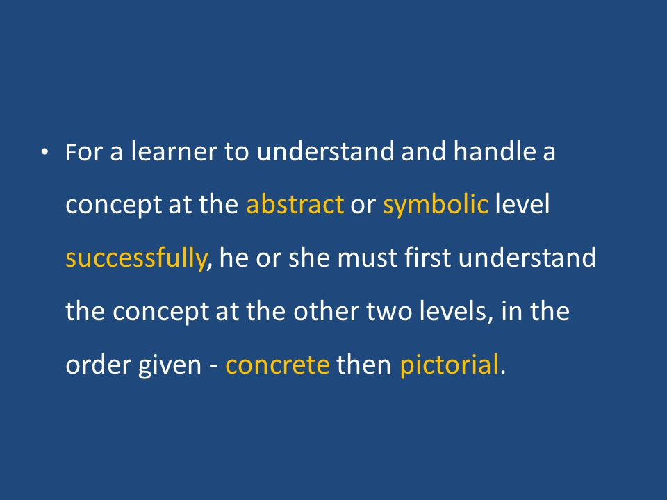 F or a learner to understand and handle a concept at the abstract or symbolic level successfully, he or she must first understand the concept at the other two levels, in the order given - concrete then pictorial.