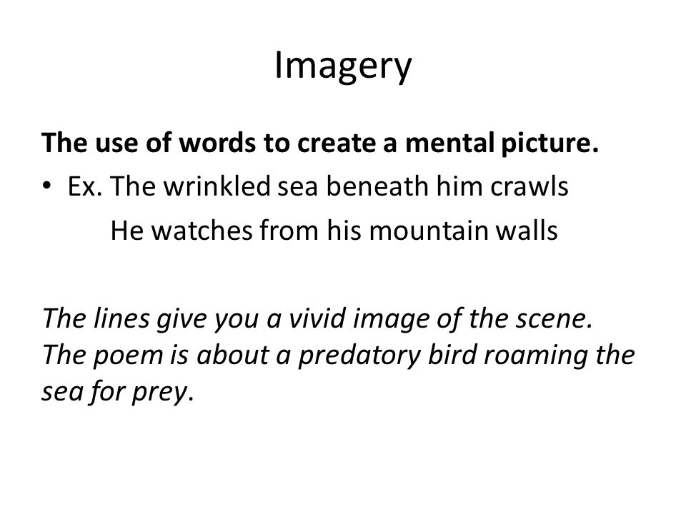 Imagery The use of words to create a mental picture.