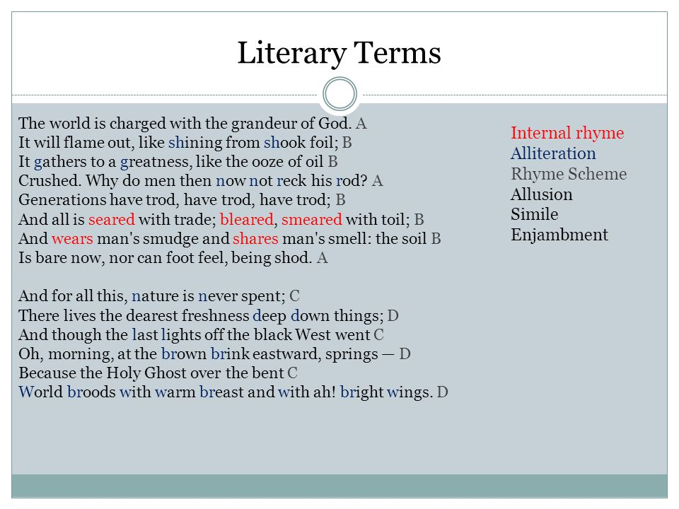 Literary Terms The world is charged with the grandeur of God.