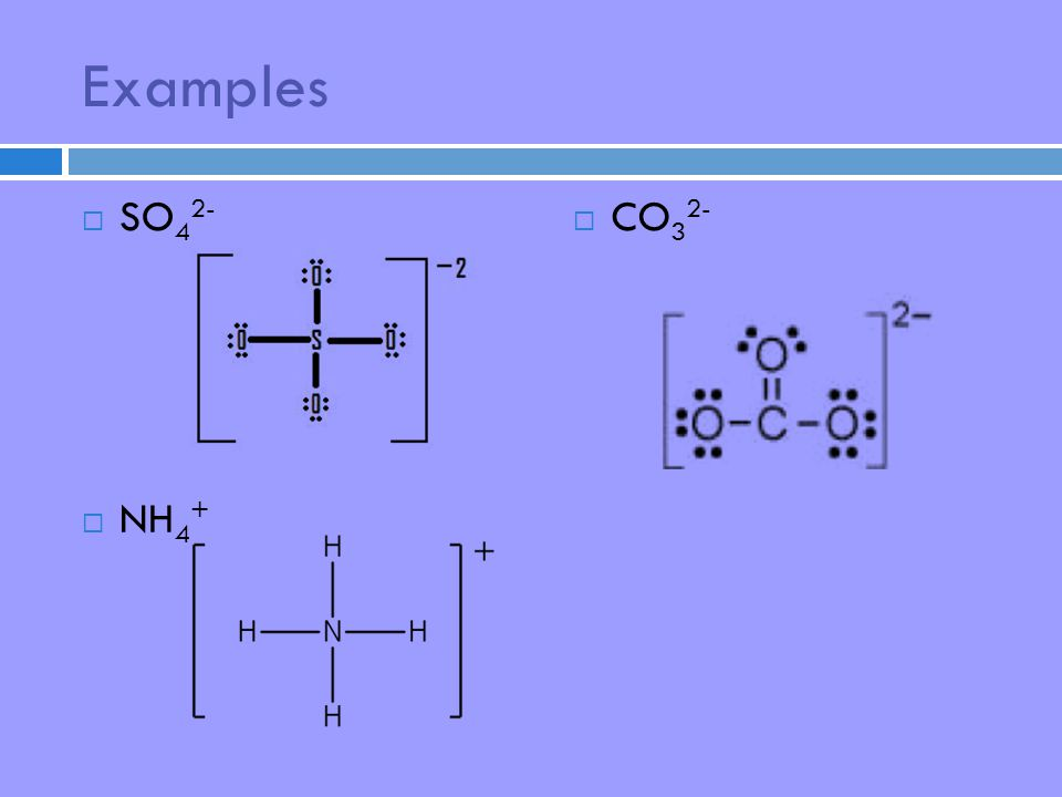 Examples  SO 4 2-  NH 4 +  CO 3 2-