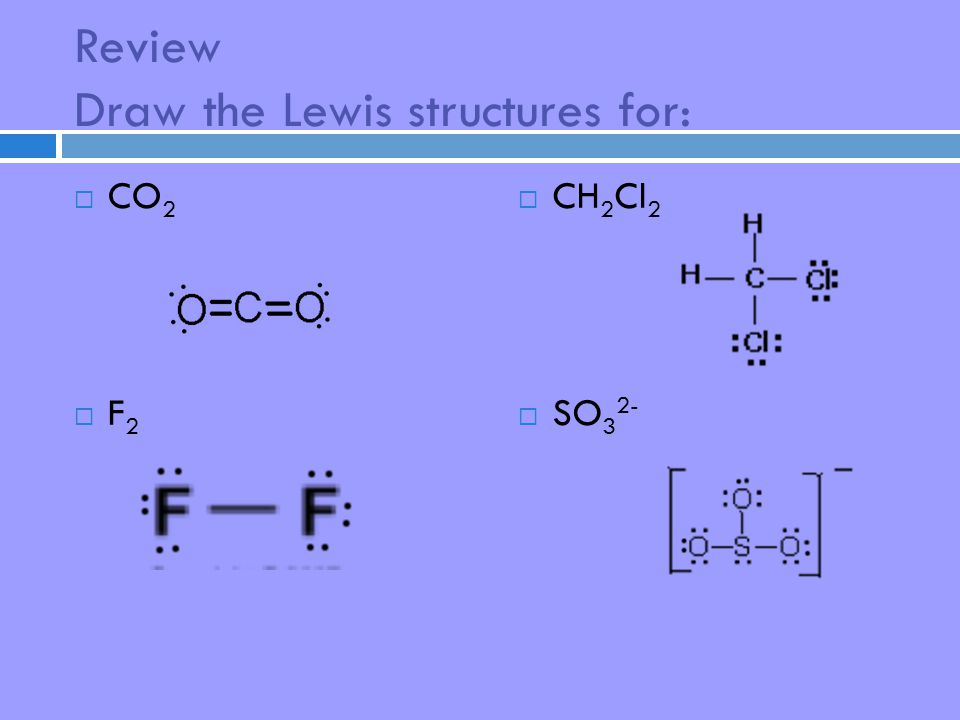 Review Draw the Lewis structures for:  CO 2  F 2  CH 2 Cl 2  SO 3 2-