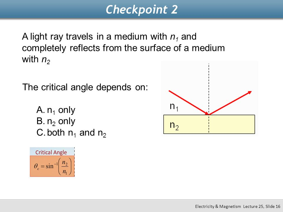 Checkpoint 2 Electricity & Magnetism Lecture 25, Slide 16 A light ray travels in a medium with n 1 and completely reflects from the surface of a mediu