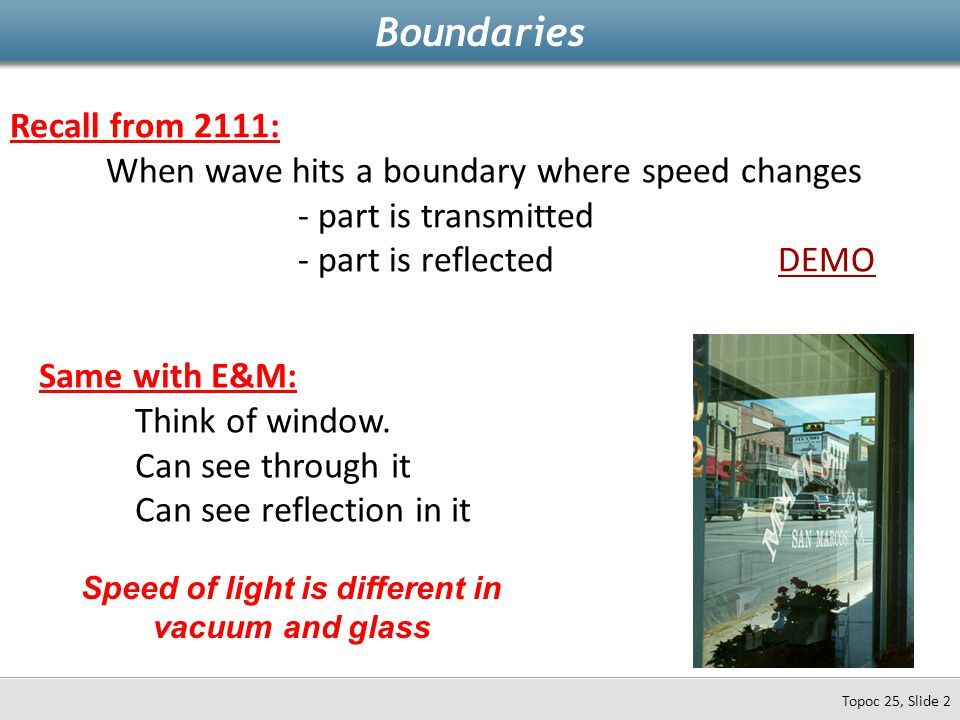 Recall from 2111: When wave hits a boundary where speed changes - part is transmitted - part is reflectedDEMODEMO Boundaries Topoc 25, Slide 2 Same wi