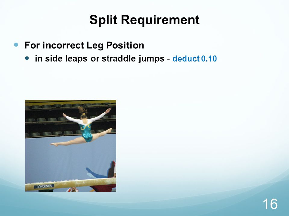 Split Requirement For incorrect Leg Position in side leaps or straddle jumps - deduct 0.10 16