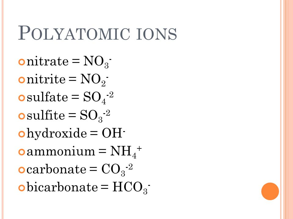 P OLYATOMIC IONS nitrate = NO 3 - nitrite = NO 2 - sulfate = SO 4 -2 sulfite = SO 3 -2 hydroxide = OH - ammonium = NH 4 + carbonate = CO 3 -2 bicarbonate = HCO 3 -
