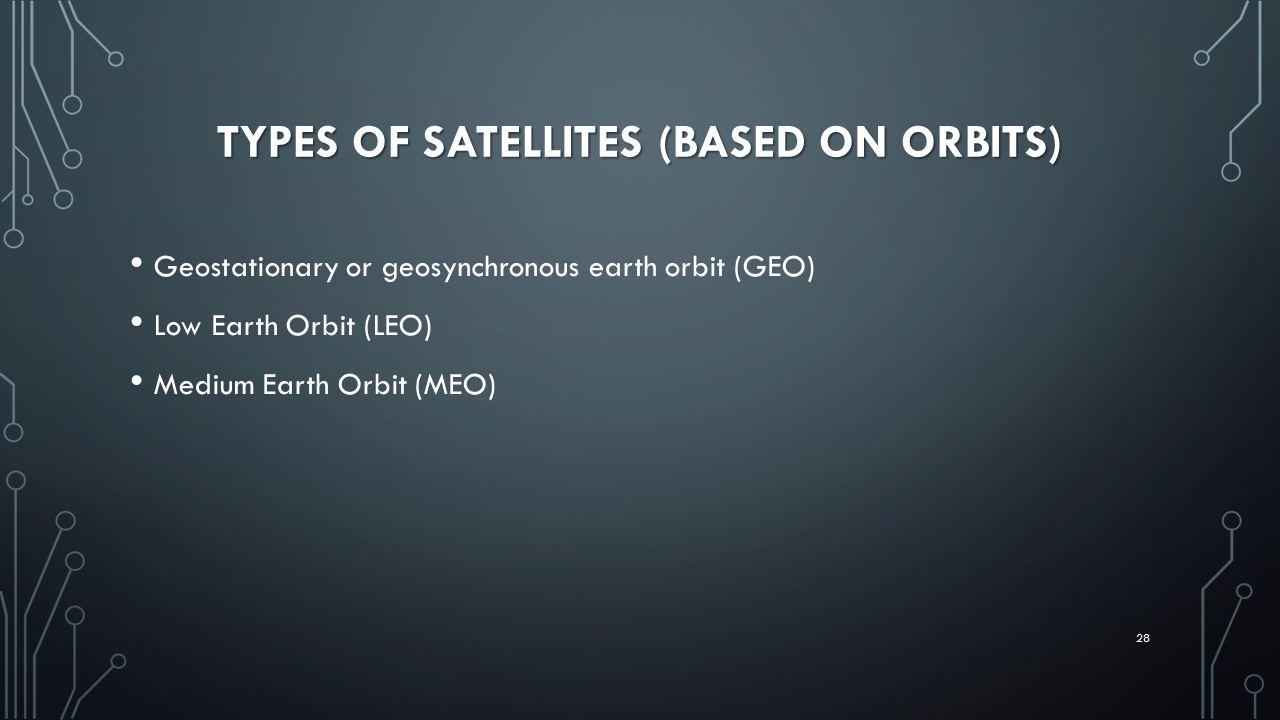 TYPES OF SATELLITES (BASED ON ORBITS) Geostationary or geosynchronous earth orbit (GEO) Low Earth Orbit (LEO) Medium Earth Orbit (MEO) 28