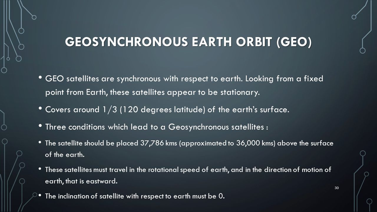 GEOSYNCHRONOUS EARTH ORBIT (GEO) GEO satellites are synchronous with respect to earth.