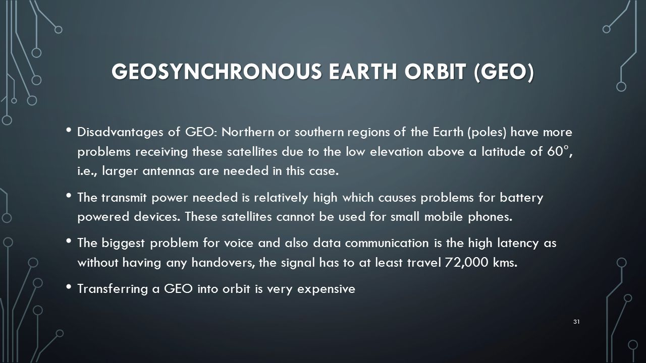 GEOSYNCHRONOUS EARTH ORBIT (GEO) Disadvantages of GEO: Northern or southern regions of the Earth (poles) have more problems receiving these satellites due to the low elevation above a latitude of 60°, i.e., larger antennas are needed in this case.