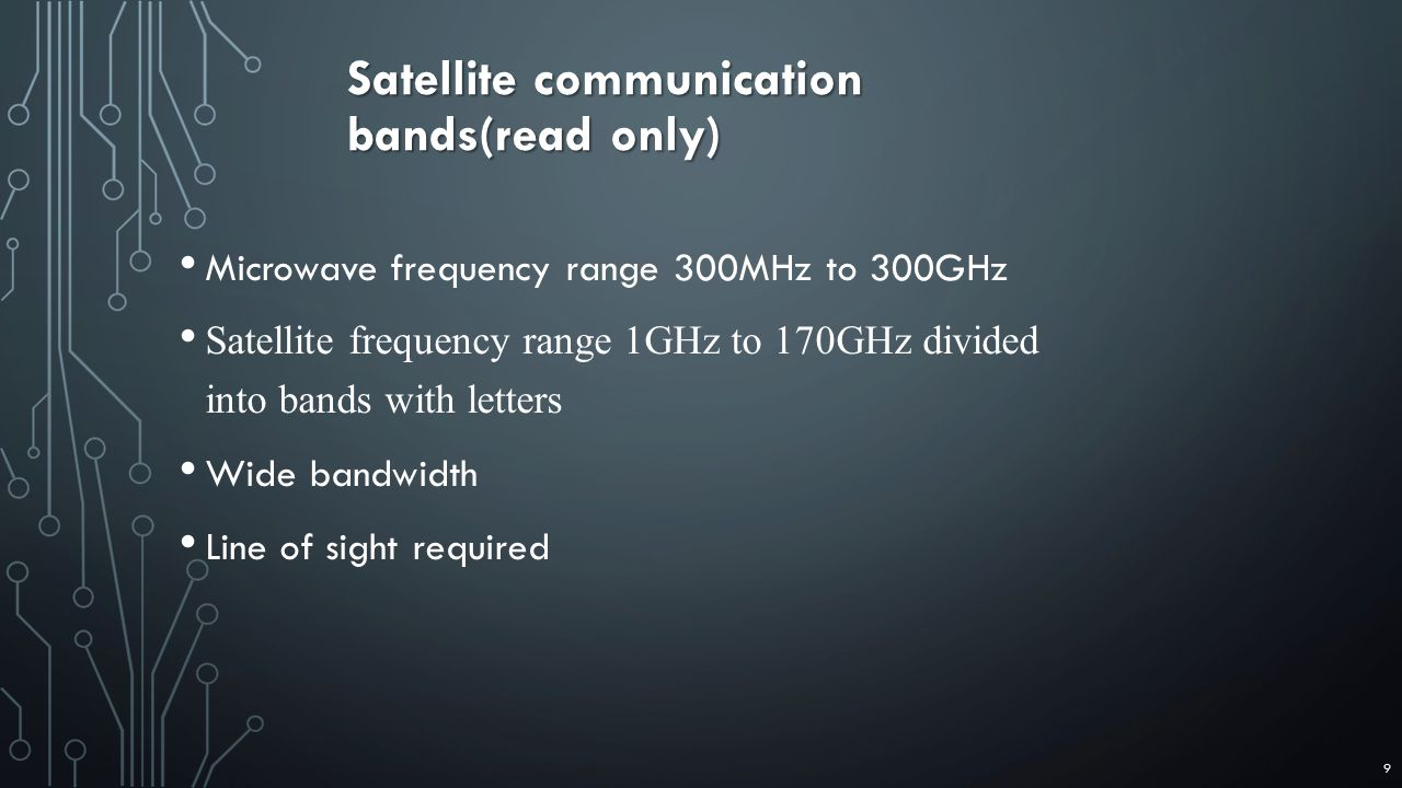 Microwave frequency range 300MHz to 300GHz Satellite frequency range 1GHz to 170GHz divided into bands with letters Wide bandwidth Line of sight required Satellite communication bands(read only) 9