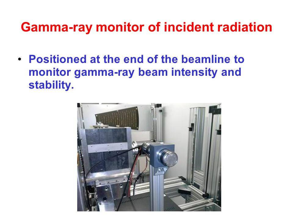 Gamma-ray monitor of incident radiation Positioned at the end of the beamline to monitor gamma-ray beam intensity and stability.