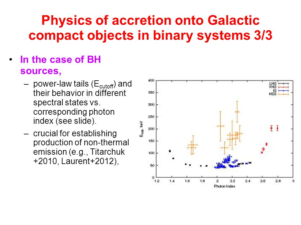 Physics of accretion onto Galactic compact objects in binary systems 3/3 In the case of BH sources, –power-law tails (E cutoff ) and their behavior in different spectral states vs.