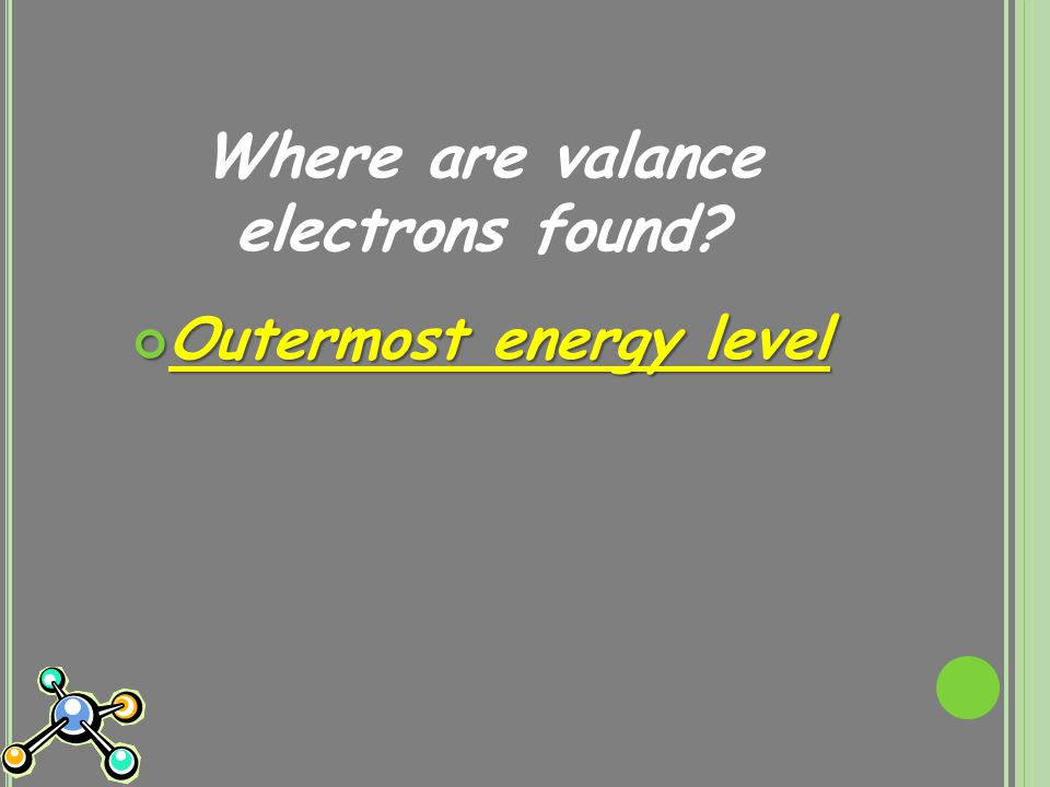 Where are valance electrons found? Outermost energy level