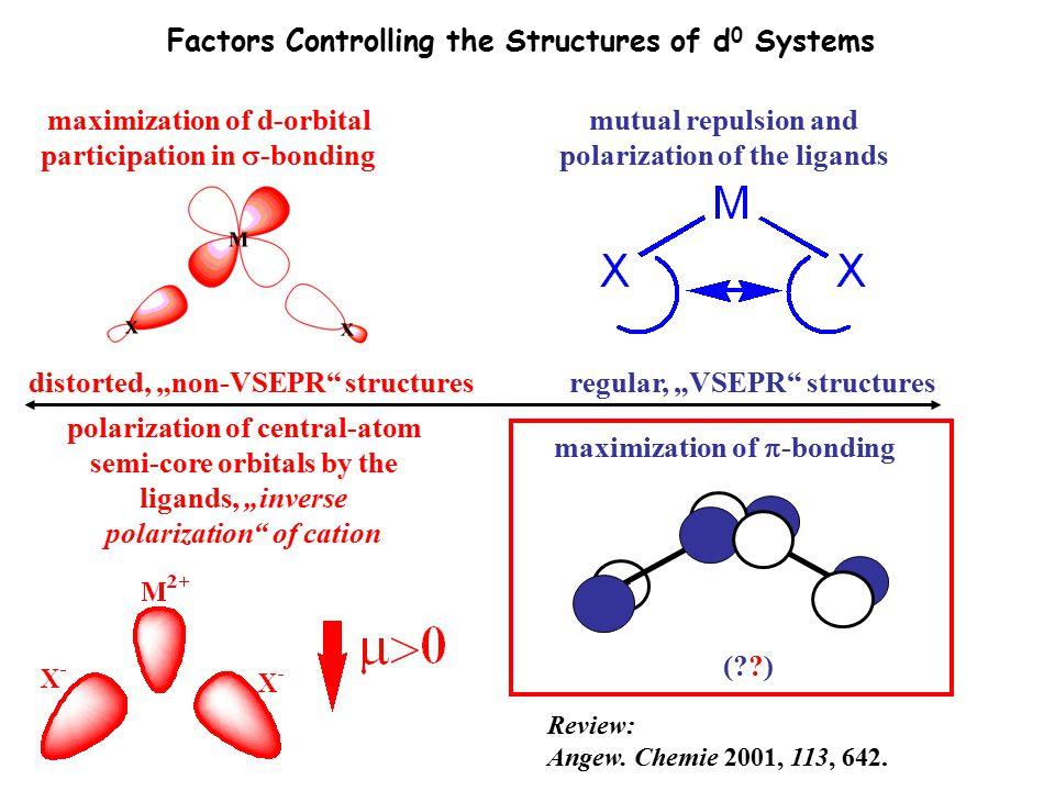 "regular, ""VSEPR"" structuresdistorted, ""non-VSEPR"" structures polarization of central-atom semi-core orbitals by the ligands, ""inverse polarization"" of"