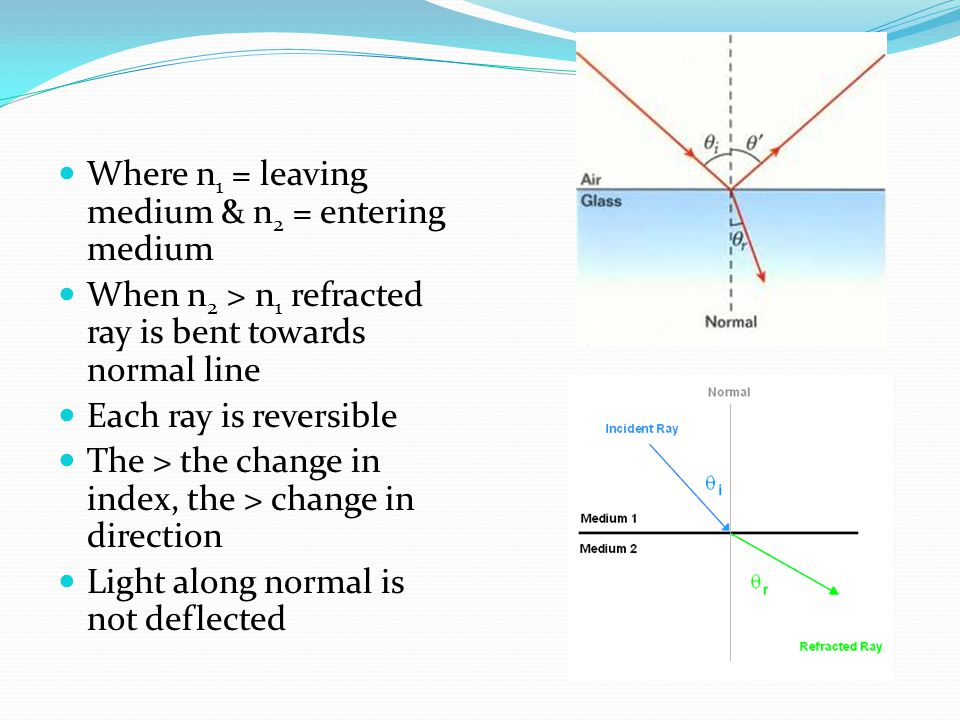 Where n 1 = leaving medium & n 2 = entering medium When n 2 > n 1 refracted ray is bent towards normal line Each ray is reversible The > the change in index, the > change in direction Light along normal is not deflected