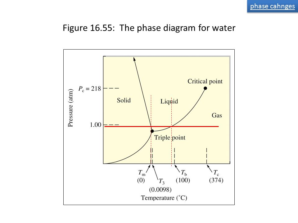 Figure 16.55: The phase diagram for water phase cahnges